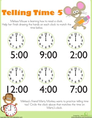 telling time with mouse 5 telling time
