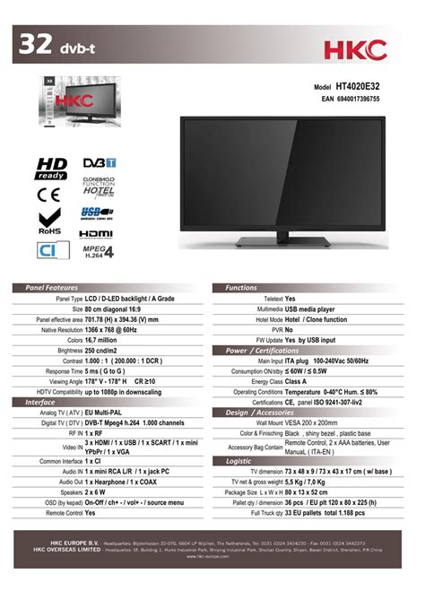 HKC HT4020E32 LED TV Manualzz