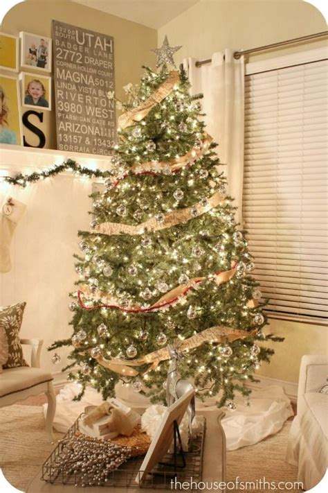 decorating tree with burlap ribbon burlap garland with all silver and white ornaments