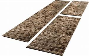Teppich Bettumrandung 3 Teilig : l ufer set steinwand optik braun beige design teppiche ~ Bigdaddyawards.com Haus und Dekorationen