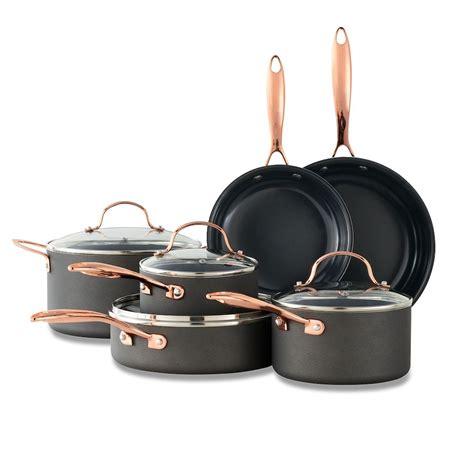food network  pc nonstick black matte ceramic cookware set   copper cookware set