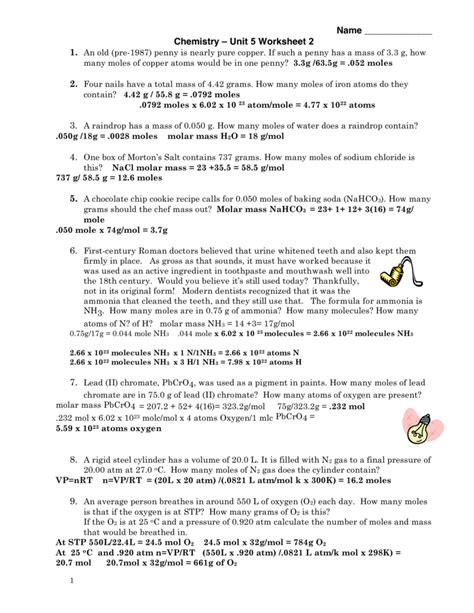 Chemistry Unit 5 Worksheet 2 Answer Key Worksheets For School Mindgearlabs