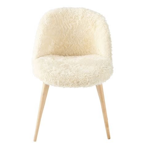 chaise de bureau vintage faux fur and solid birch vintage chair in ivory mauricette