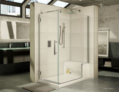 Bathroom Shower Enclosures With Seat by 60 X 36 Fleurco Acrylic Shower Base With Bench Seat And