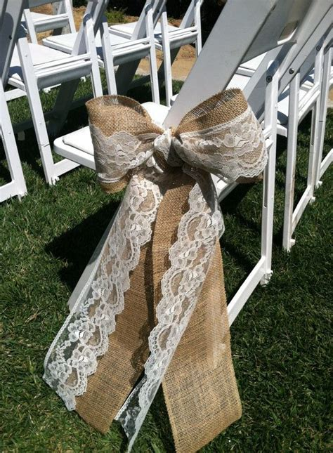 burlap  lace wedding ceremony bow aisle decorations