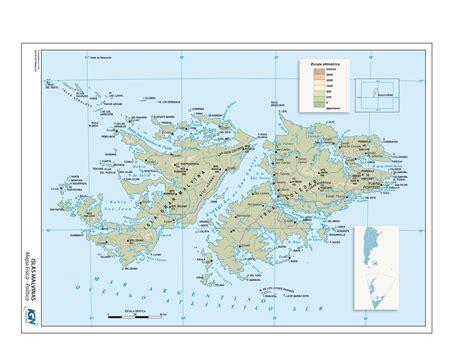 Mapa físico/político de las Islas Malvinas Instituto