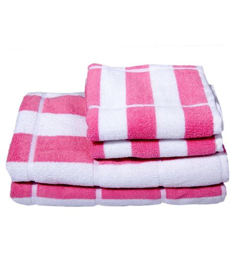 Pink Bathroom Towel Set by Skumars Touch White Pink Stripes Towel Set 2