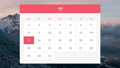 beautiful css calendar code snippet ginva