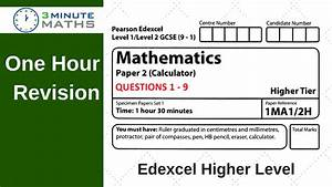 Edexcel Maths Past Paper  U2013 Higher 2  U2013 With Video Solutions