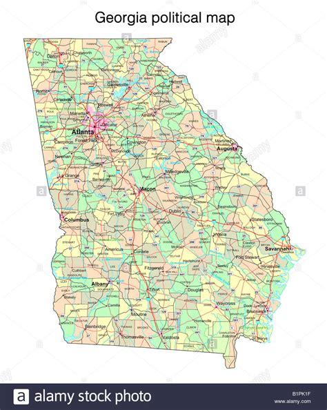 Georgia state political map Stock Photo - Alamy