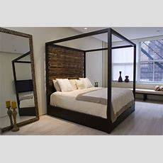 Canopy Bed With Hand Tied Bamboo Headboards Modern