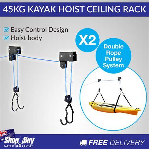 make my own kayak ceiling hoist 2 x kayak hoist ceiling rack bike lift pulley system