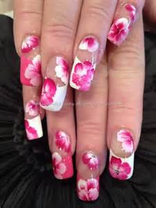 Pink and white flower nail designs art ideas