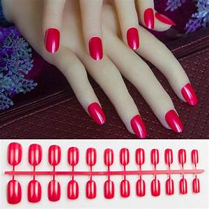 24pcs Pearl red round oval fake nails short full cover ...