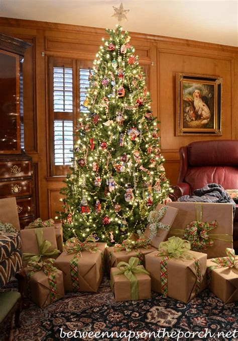 how to wrap a christmas tree with ribbon wrapping gifts with plaid ribbons and turning on trees via remote
