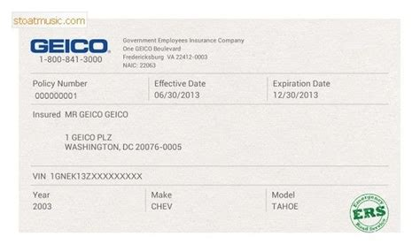 Car insurance template milbe refinedtraveler co. Blank Geico Insurance Card Template Download   aesthetic name