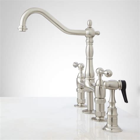 bellevue bridge kitchen faucet with brass sprayer lever handles kitchen - Bridge Kitchen Faucet