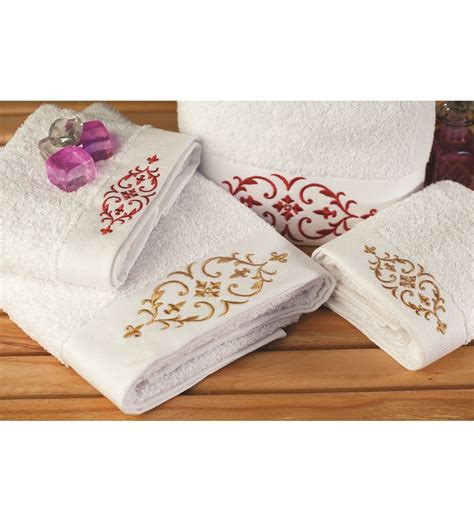 mind on design bath towels portico maroon n beige embroidered towel set of 4 by