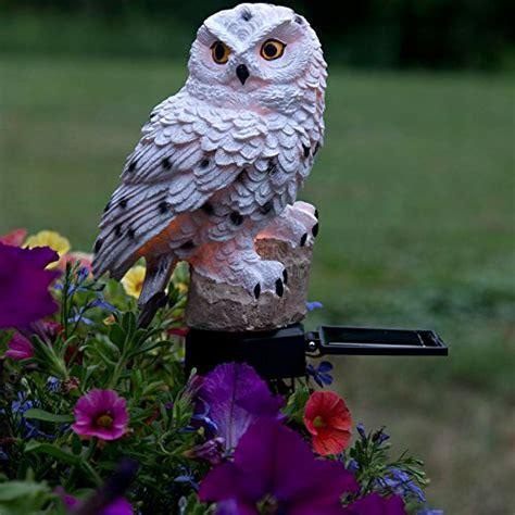 keep birds out of garden evelots white owl solar led lawn garden light keep