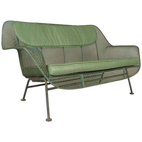Garden Settee by Vintage 1950s Sculptura Wrought Iron Settee By