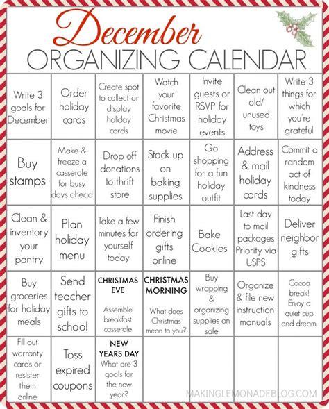 printable december organizing calendar  entire