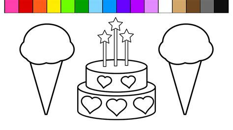 Color Ice Cream Heart Birthday Cake Coloring Pages For