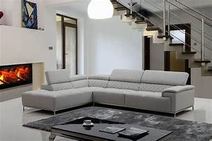 Stylish light grey leather sectional couch with ergonomic for Light grey sectional sofa canada