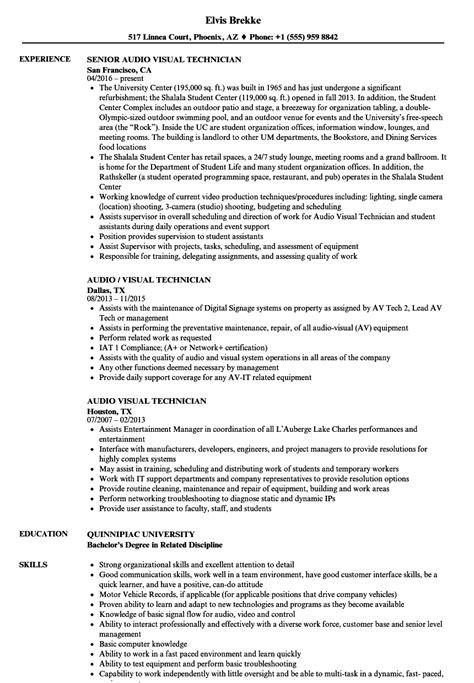audio visual technician resume sles velvet