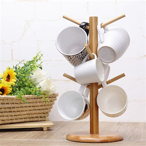 Simplehouseware expandable stackable kitchen cabinet and counter shelf organizer, bronze. Wood Tree Shape Mug Coffee Cups Drying Storage Rack Holder Home Kitchen Drain Hanger Organizer ...