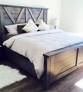 Barn door style farmhouse bed x styling so beautiful for Barn style bed frame