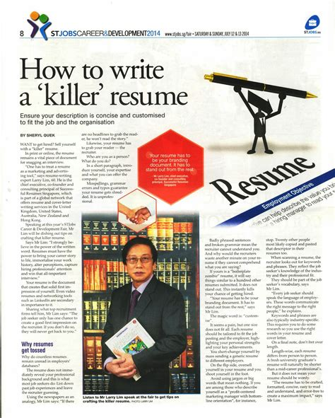 successful resumes singapore how to write a killerresume