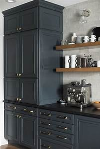 Large, Pantry, Cabinet, And, Coffee, Bar, In, Dark, Kitchen