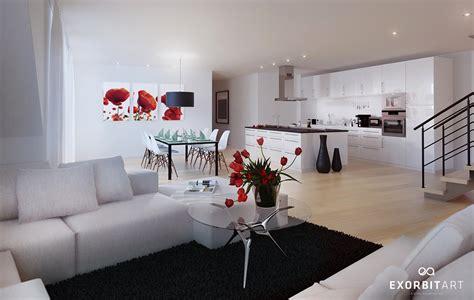 red white black decor interior design ideas