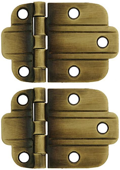 pair  solid brass art deco surface cabinet hinges  antique  hand house  antique hardware