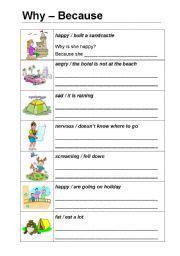 English Worksheet Why & Because  Hello  Pinterest  Worksheets, English And Grammar Worksheets
