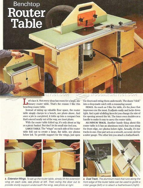 benchtop router table plans woodarchivist