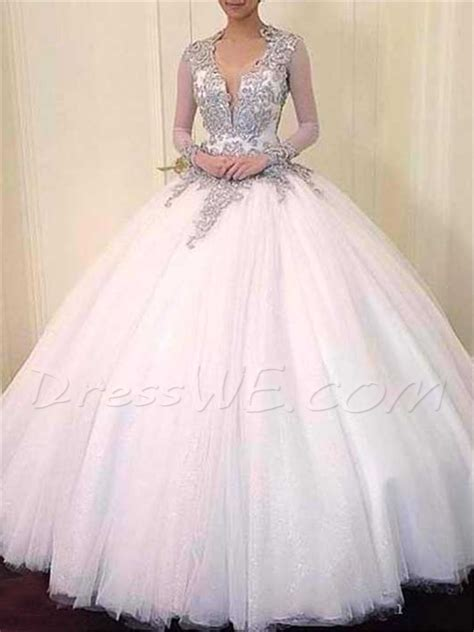 Noble V Neck Ball Gown Backless Long Sleeves Wedding Dress