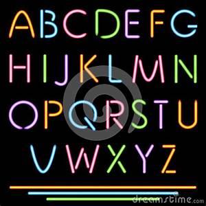 Realistic Neon Tube Letters Alphabet ABC Font