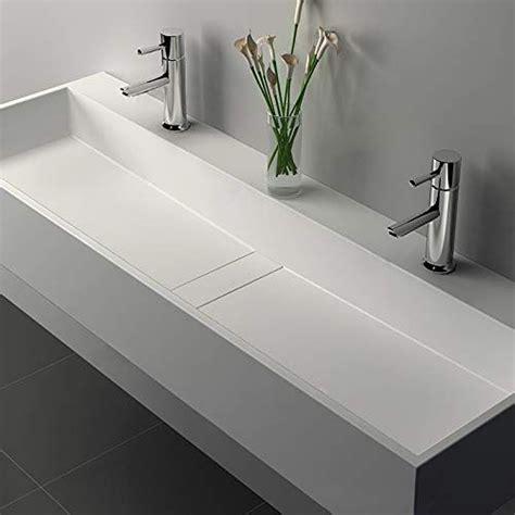 weibath   wall mount double sink stone resin matte