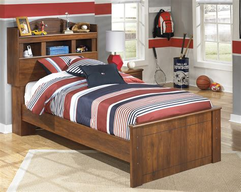 Barchan Medium Brown B Twin Bed With Bookcase Headboard