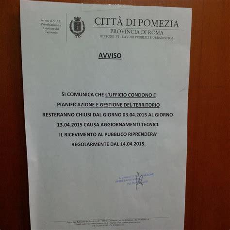 Ufficio Urbanistica Roma by Pomezia Uffici Settore Urbanistica Chiusi Per