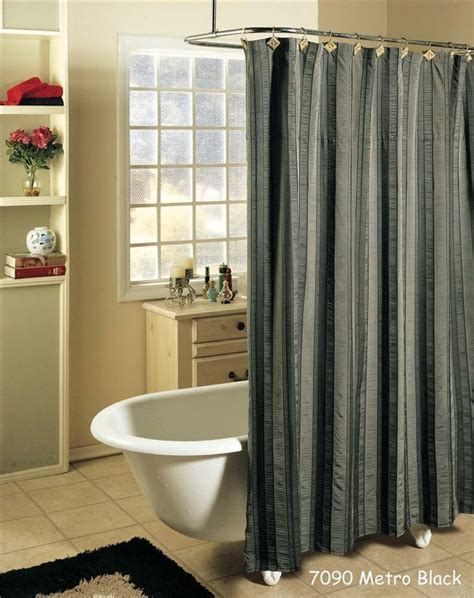 Shower Curtain Gray by Metro Stripe Black Gray Fabric Shower Curtain Free S H Ebay