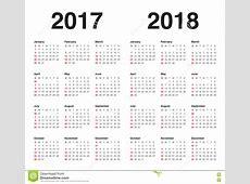 Plantilla Simple Del Calendario Para 2017 Y 2018