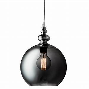 Indiana chrome globe pendant light with smokey glass glade