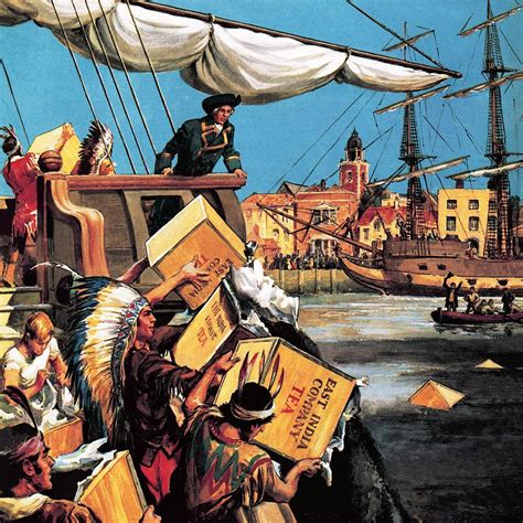boston tea party painting  english school