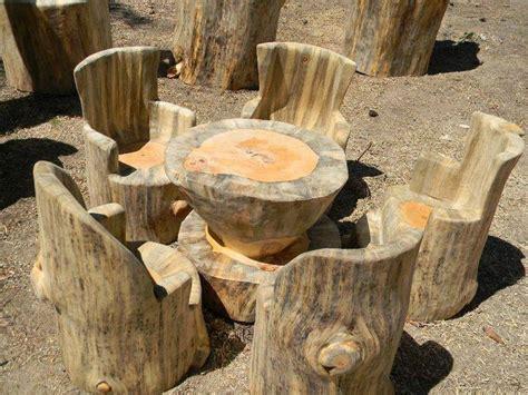 bancos  sillas hechos  troncos ideas super originales