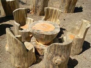Bancos y sillas hechos con troncos, Ideas super originales