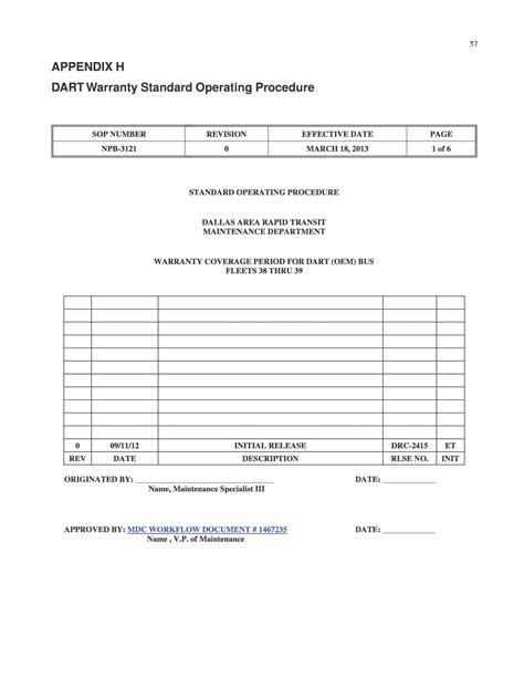 Appendix H - Dart Warranty Standard Operating Procedure