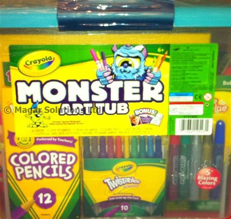 crayola monster art tub crayons twistables markers