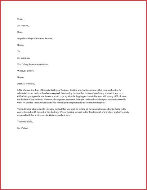 image result  student acceptance letter sample lesson